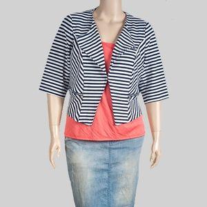 City Chic Navy Striped Blazer